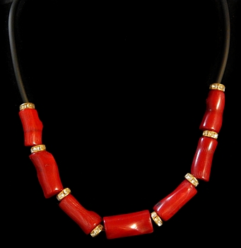 Red Coral Rope Necklace - Click For Larger View