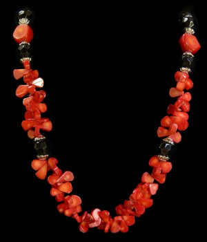 Red Coral W/Black Beads - Click For Larger View