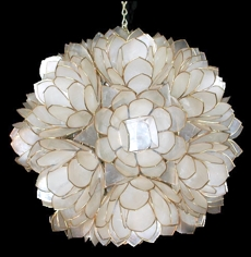 Capiz Lotus Flower Chandelier - Click For Larger View