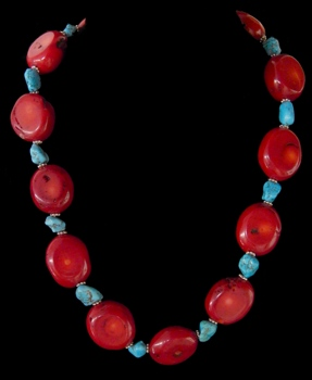 Red Coral W/Turquoise Accent - Click For Larger View