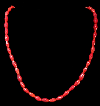 Red Coral Large Rice Beads - Click For Larger View