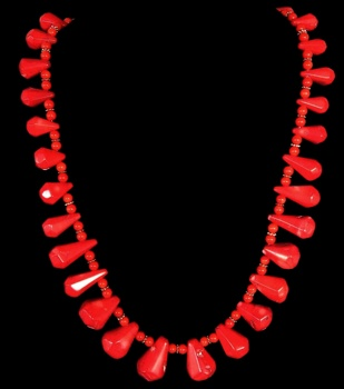 Red Coral Toggle  Necklace - Click For Larger View