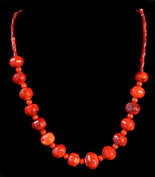 RED Coral Round W/Accent Beads - Click For Larger View