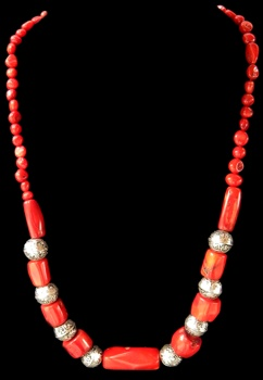 Red Coral with Sliver Accent Beads - Click For Larger View