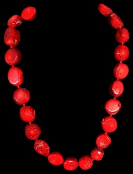 Red Coral Beaded Necklace - Click For Larger View