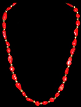 Red Coral W/gold beads - Click For Larger View
