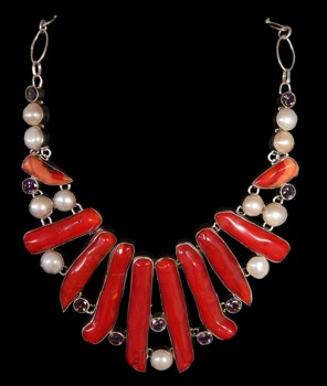 Red Coral, River Pearls, Topaz Stones. - Click For Larger View