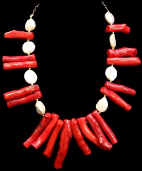 Red Coral Branch W/Fresh Water Pearls - Click For Larger View