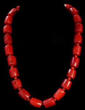 Small Red Coral Barrel Necklace - Click For Larger View