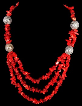 3 Row Red Coral W/Silver Accent - Click For Larger View
