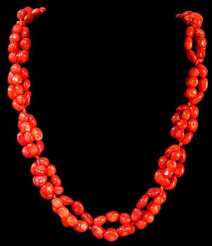 Red Coral Beads Double - Click For Larger View