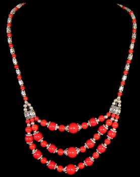 Tibet Style Red Coral Necklace - Click For Larger View