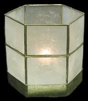 Capiz Hex Candle Holder - Click For Larger View